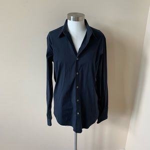 Theory navy blue button down dress shirt #6144